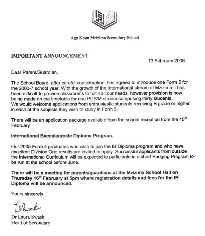 History of a failure in situ head of school communications an letter to parents announcing the re introduction of form v spiritdancerdesigns Gallery